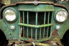 Grilled (madamanski) Tags: green truck rust paint raw florida headlights grill faded hdr
