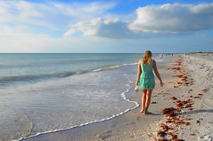 Something about being on a beach... (beyondhue) Tags: sunset usa shells southwest green beach water girl walking landscape mexico island gulf dress florida horizon sunny palm shore shelling beachcomber beyondhue