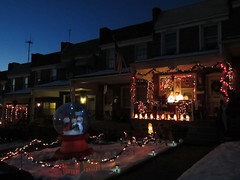 snowglobe hill in Hampden (Zombie37) Tags: xmas blue decorations people house night dark lights glow hill kitsch baltimore illuminated plastic porch chrsitmas manger glowing lit kitschy hampden decorated 37th woodberry