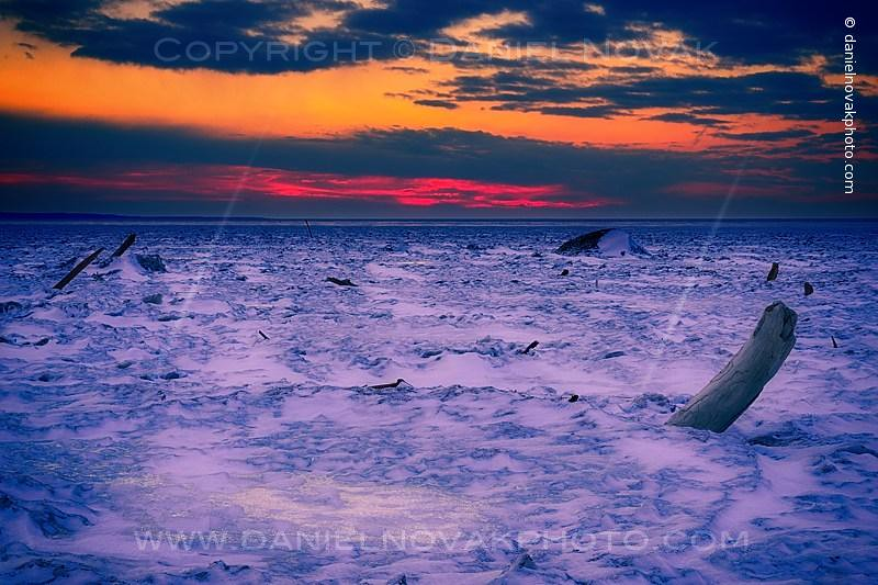 Elephant Graveyard; Frozen Desolation on Woodlawn Beach at Sunset, Hamburg - Buffalo, NY (DTA_9425-26)