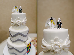Our Wedding Cake (LooseTrucks) Tags: wedding boy color colors girl photoshop toys photography miniature photo starwars nikon focus diptych couple photographer dof floor lego little bokeh weddingcake text 28mm bricks marriage lovers outoffocus indoors faded reception legos photoaday stormtrooper environment f18 figurine tones legostarwars wedding