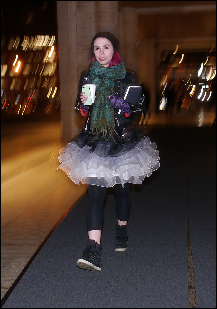 FW 2014-2 -28 black leather biker jacket tutu skirt black leggings green scarf magenta hair black wedge high tops purple fingerless gloves ol
