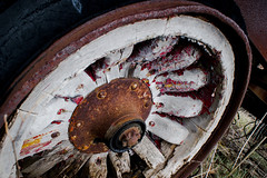 Wooden Spokes (Off The Beaten Path Photography) Tags: wood abandoned wheel rural wooden rust sony spokes rusty indiana faded forgotten rusted fade fading ruraldecay leftbehind a350 sonya350