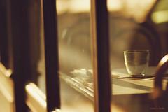 (nina's clicks) Tags: window glass table golden chair bokeh hour goldenhour emptyglass hbw