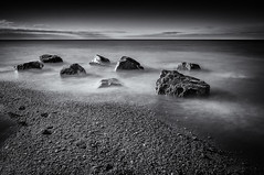 Rotary Park - Lake Ontario (Chris Noronha) Tags: longexposure sky bw white lake seascape ontario black water landscape nikon rocks time 10 silk stop filter nd ajax rotarypark d90 cnphotography