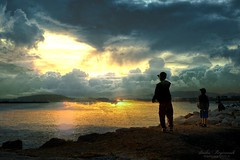 silhouettes among the clouds... (Dimitra Kirgiannaki .*summer -lover ) Tags: sea sky people nature colors kids cloud