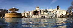 Trafalgar Square (lcfcian1) Tags: sky people reflection london water fountain weather statue square amazing outdoor trafalgar trafalgarsquare nationalgallery shimmer trafalgarsquarelondon londonreflection