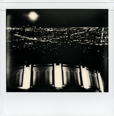Observatory Cityscape 2 (tobysx70) Tags: california park ca camera city toby bw moon white black film night project polaroid lights la los exposure cityscape nocturnal image angeles uv double illuminated system full observatory tip hollywood and 1200 lit hancock spectra griffith expired park impossible the griffith pz600