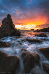 FireSky (Michael Bandy) Tags: ocean seascape beach clouds landscape nikon rocks waves socal coastal coastline southerncalifornia coronadelmar sunsetsky cdm