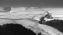 Hurst Clough and Jaggers Clough (Paul Newcombe) Tags: winter blackandwhite bw snow monochrome barn landscape nationalpark derbyshire telephoto february canon70200f4l kinderscout derwentedge 2015 longlens jaggersclough hurstclough paulnewcombe