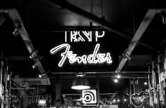 Fender (MegsPhotosUK) Tags: blackandwhite bw music sign shop lights mono design store neon industrial dof bass guitar interior depthoffield musical fender neonsign tones interiordesign esp ibanez brands guitarshop fenderguitars