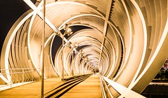 Tube at Night (Franco Beccari) Tags: world city trip travel bridge blue red vacation white holiday black color colour green tourism yellow architecture modern night photography nikon europe nightlights tube tunnel nikkor stroll modernarchitecture futuristic d600 nikond600