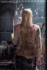 Jenni enters the pie business (Wet and Messy Photography) Tags: woman feet water girl pie jenni blouse wear business messy blonde messyhair slime nylons doused pieintheface wetandmessy slimed gettingpied