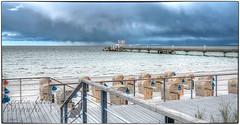 (#2.925) Scharbeutz / Ostsee (unicorn 81) Tags: sea beach water strand deutschland pier chair meer wasser balticsea ostsee hdr strandkorb schleswigholstein seebrcke scharbeutz dunklewolken darkclous