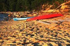 Topsy-turvy (RPahre) Tags: sunset beach michigan greatlakes upperpeninsula kayaks picturedrocksnationallakeshore