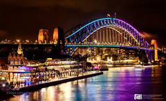 Vivid Sydney (ElginCon) Tags: park city bridge reflection festival architecture night lights colorful cityscape sydney vivid australia luna harbourbridge 500px ifttt earthporn