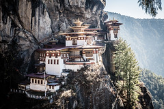 Tiger's Nest Monastery (.craig) Tags: travel bridge trees mountains building architecture landscape rocks bhutan prayer buddhism structure monastery prayerflags paro himalayas stompa