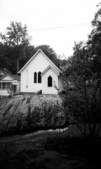 Episcopal Church (sarah_kay_gee) Tags: blackandwhite 35mm virginia bearmountain fujineopan amherstcounty pinkslimdress monacannation