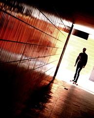 The doctor on his longbord (Mastahkid) Tags: sunlight germany deutschland fliesen minimal human messe icc spiegelung undergound mensch sonnenlicht berlion mastahkid ontourwithkleingeislein