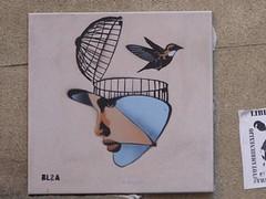 Graff in Barcelona (brigraff) Tags: barcelona streetart bird collage liberty bcn cage espana libert ave espagne oiseau barcelone vogel carrelage brigraff bl2a