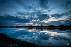 Mirror( Have a nice weekend)  (T.ye) Tags: blue sunset sky orange cloud reflection beach water field silhouette river landscape outside coast angle outdoor wide deep wave bank shore todd ye