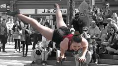 force et beaut mlanges... (mariej55quebec) Tags: red people woman man rouge artist femme crowd foule homme gens artistes vieuxqubec spectacle jongleur acrobates artistesderue amuseurs