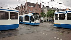Nieuwe Kruisingsperikelen: Tramtriootje (Peter ( phonepics only) Eijkman) Tags: city holland netherlands amsterdam transport nederland tram rail bn rails trams strassenbahn noordholland gvb tramtracks streetcars combino nederlandse trapkar