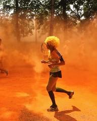 Faster (polinaglebova) Tags: summer orange sun color colors sport festival wow moscow marathon running run jogging holi       42km        colormarathon