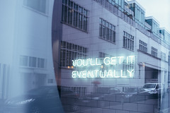 Neon, Bermondsey Street ({Laura McGregor}) Tags: neon sign bermondseystreet youllgetiteventually street urban city rain umbrella london londonbridge reflection glass window fuji fujixpro2 vsco vscofilm