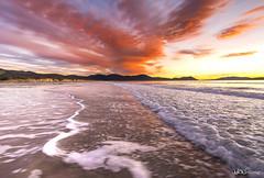"""A Splash of Colour"" (Kate Caston) Tags: ocean red sea seascape beach clouds sunrise nikon wave australia hills coastal tasmania tasmansea 2016 marionbay d7200 marionbaybeach"