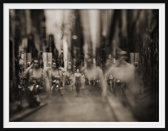laneway figures I (Andrew C Wallace) Tags: city streetart sepia lensbaby photoshop ir graffiti australia melbourne victoria multipleexposure pedestrians infrared ghosts cbd laneway hosierlane tiltshift m43 720nm nikon50mmf14 microfourthirds tilttransformer olympusomdem5