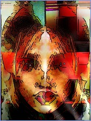 Fusion of Two Halves (Joe Vance aka oliver.odd) Tags: new light red portrait house abstract color art geometric face look mirror design foreboding surreal clone spinner expanding buiding