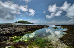 St. George's Island from Hannafore Beach, Looe, Cornwall (suerowlands2013) Tags: seaweed clouds reflections rocks rockpools reflectedclouds stgeorgesisland westlooe hannaforebeach