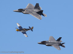 F-22, F-35 and P-51 Heritage Flight (JetImagesOnline) Tags: air power over hampton road airshow 2016 f22 raptor f35 lightning ii jsf p51 mustang acc heritage flight fighter jet wwii