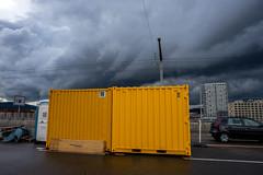 Yellow box and weather (jaeschol) Tags: yellow switzerland zrich ch kreis5 hardbruecke kantonzrich stadtzrich