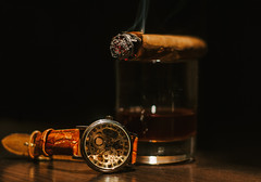 Luxury still life (noor.khan.alam) Tags: life wood black clock glass closeup price dark high warm watches drink background smoke watch rich beverage lifestyle style whiskey cigar liquor alcohol precious booze whisky rum brandy wristwatch elegant expensive product luxury lux extra brandywine russianfederation valuable zzzaagaaaghdgjghgbcndb