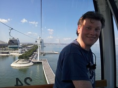 Steven, in the teleferico (Vicki Milway) Tags: portugal lisbon parquedasnacoes
