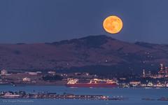 Strawberry Moonrise (Eric Dugan) Tags: california water twilight waterfront fullmoon moonrise benicia vallejo martinez refinery freighter strawberrymoon carquinezstrait