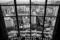 table with a view (Rob-Shanghai) Tags: china leica city table mono restaurant hotel cityscape view shanghai eating pullman dining puxi leicaq