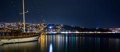 (aesrth) Tags: city longexposure reflection nature water colors turkey lights boat ship tripod istanbul shore citylights sail nightsky ripples carlzeiss sariyer nightsea sonyrx100