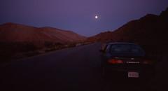 Location Scout (Colton Davie) Tags: moon film car 35mm landscape iso100 twilight desert kodak slide reversal elitechrome100 2013 canoneoselan7 jawbonecanyon