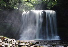Sgwd Yr Eira Waterfall (Raphooey) Tags: park uk trees sun mist mountain mountains tree water rock fog wales canon river eos waterfall rocks country beam national waterfalls rivers gb limestone brecon beacons shafts sunbeam beams shaft sunbeams yr eira sgwd sgwdyreira 70d sandstonespray