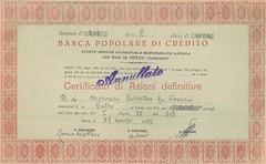 BANCA POPOLARE DI CREDITO (scripofilia) Tags: 1928 catanzaro bancapopolaredicredito