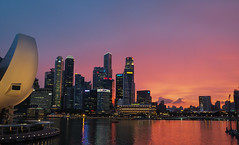 City in Colours (elenaleong) Tags: twilight singapore cityscape nightscape dusk pinksky marinabay marinareservoir mbssunset