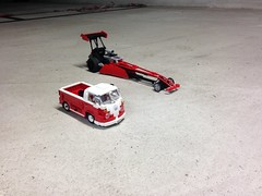 LEGO Top fuel dragster - photo from shooting the video (sm 01) Tags: camera red vw race ir drag lego top fast pickup motor rc fuel motorized t1 pf dragster 5292