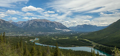 Looking down to Canmore, Alberta (ingridvg) Tags: trees canada mountains water clouds river dam reservoir alberta electricity canmore spraylakes