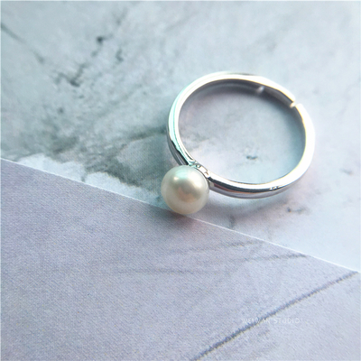 []S925 sterling silver ring, Geniune Pearl for night