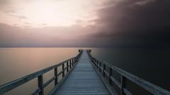 Falling Sky (PixTuner) Tags: pixtuner water wasser ostsee lzb sunset sunrise bridge seebrcke see meer ocean outdoor lonely alone holz wood forrest cloudes cloud clouds wolken sky himmel steg seebridge