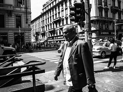 The old man (DanieleS.) Tags: photo photography shot wow amazing cool great good dannyboy ilovedannyboy daniele salutari milano milan black white bianco nero street fotografia di strada people urban old man walking summer 2016 city