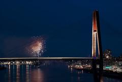 DSC_0220 (laurieneale939) Tags: city bridge summer water night holidays fireworks transportation lightrail skytrain celebrate